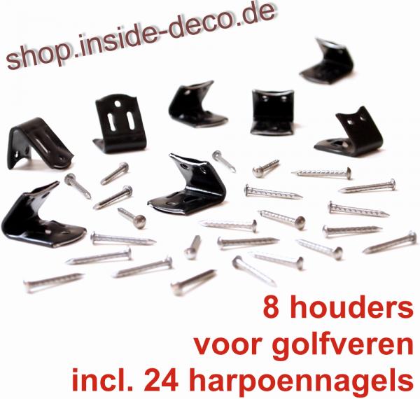8 scharnierbeugels + 24 harpoennagels voor ZigZag veren