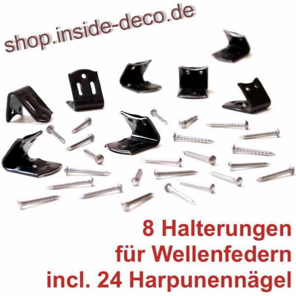8 Scharnierklammern Halterungen + 24 Harpunennägel für Nosagfedern Wellenfedern